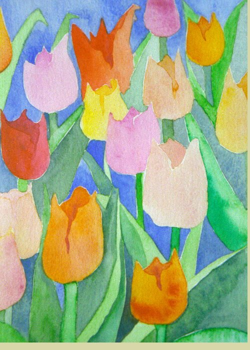 Tulips Greeting Card featuring the painting Tulips Multicolor by Christina Rahm Galanis