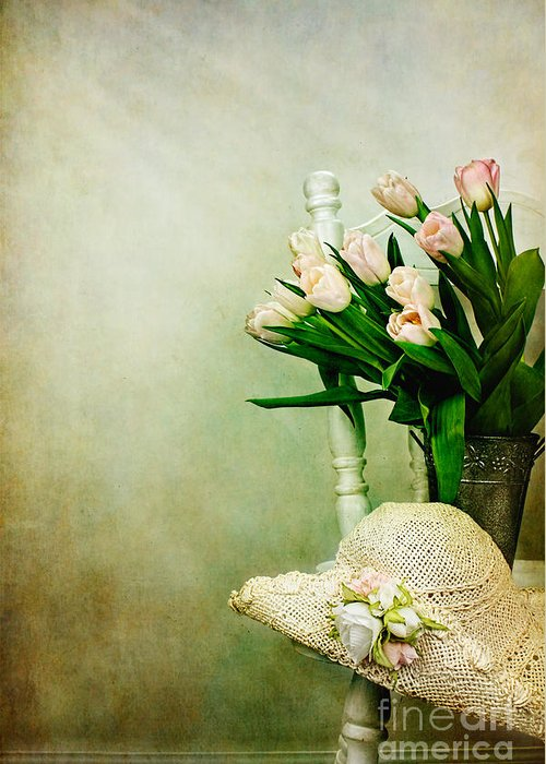 Vertical Greeting Card featuring the photograph Tulips On A Chair by Stephanie Frey