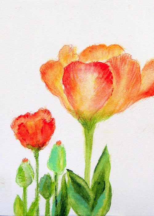 Floral Greeting Card featuring the painting Tulips Orange And Red by Ashleigh Dyan Bayer