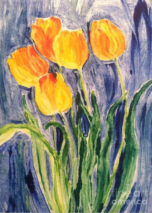 Owl Greeting Card featuring the painting Tulips by Sherry Harradence