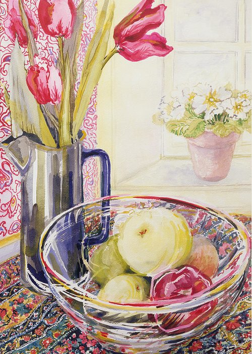 Still Life; Window; Sill; Flowers Greeting Card featuring the painting Tulips With Fruit In A Glass Bowl by Joan Thewsey