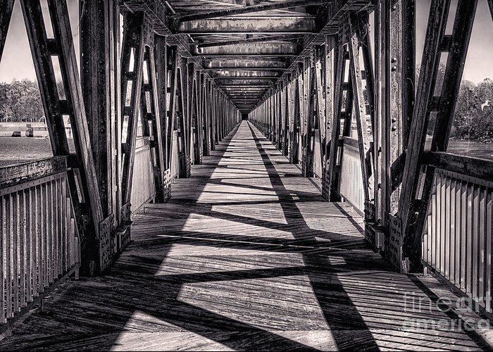 Tulsa Greeting Card featuring the photograph Tulsa Pedestrian Bridge In Black And White by Tamyra Ayles