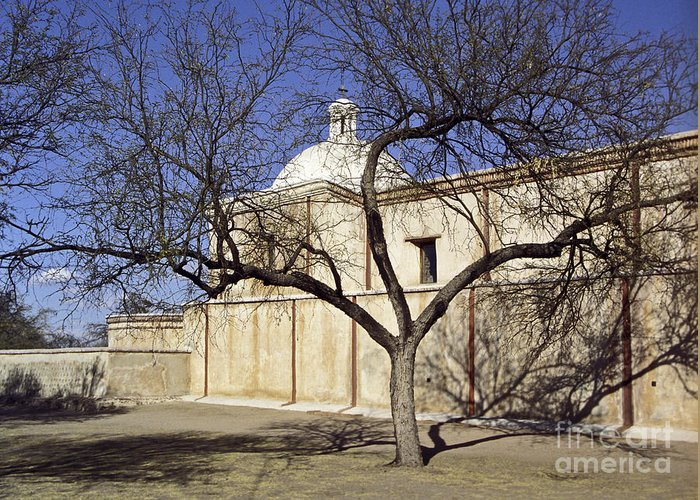 Mission Greeting Card featuring the photograph Tumacacori With Tree by Kathy McClure