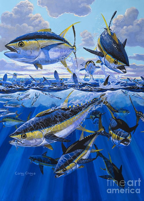 Tuna Greeting Card featuring the painting Tuna Rampage Off0018 by Carey Chen