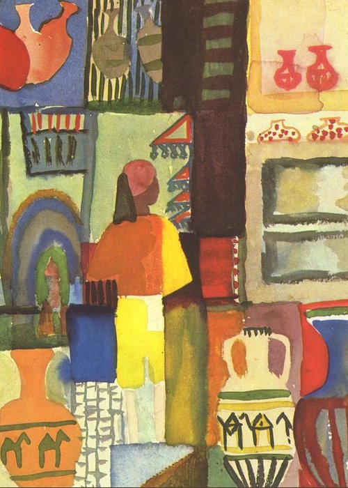 August Greeting Card featuring the painting Tunisian Market by August Macke