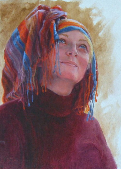 Figurative Greeting Card featuring the painting Turban 1 by Connie Schaertl