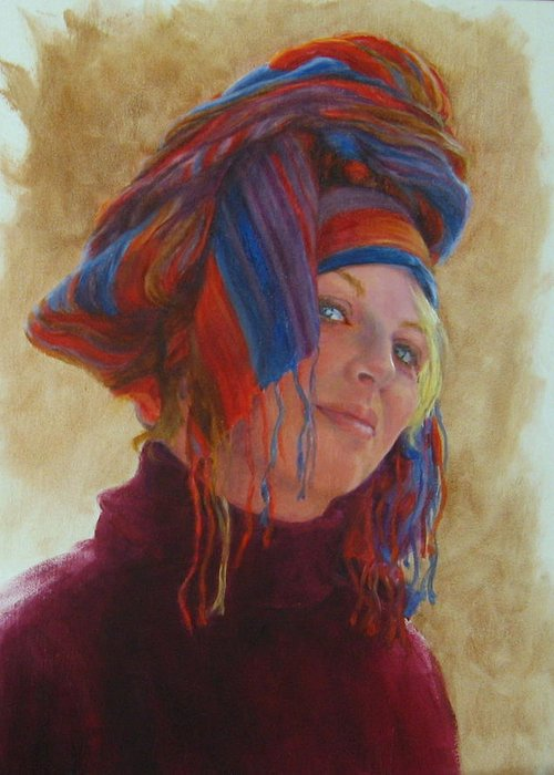 Figurative Greeting Card featuring the painting Turban 2 by Connie Schaertl
