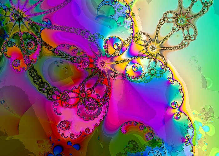 Kaleidoscope Greeting Card featuring the digital art Turbulent Color 2 by Sharon Lisa Clarke