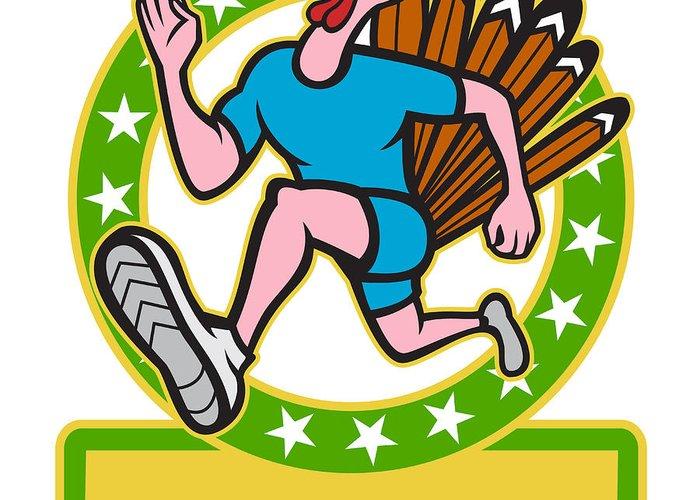 Turkey Greeting Card featuring the digital art Turkey Run Runner Side Cartoon by Aloysius Patrimonio
