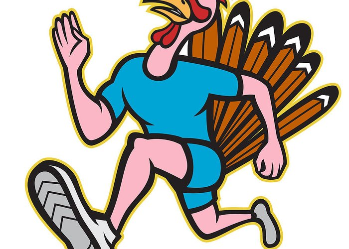 Turkey Greeting Card featuring the digital art Turkey Run Runner Side Cartoon Isolated by Aloysius Patrimonio
