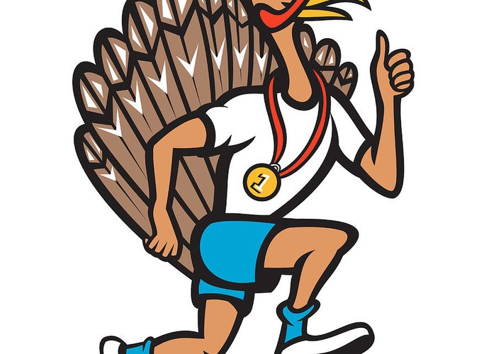 Turkey Greeting Card featuring the digital art Turkey Run Runner Thumb Up Cartoon by Aloysius Patrimonio