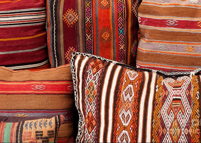 Traditional Greeting Card featuring the photograph Turkish Cushions 01 by Rick Piper Photography