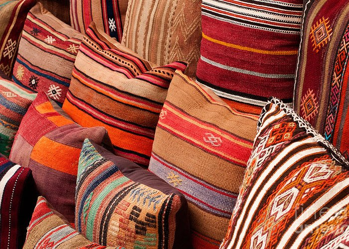 Traditional Greeting Card featuring the photograph Turkish Cushions 03 by Rick Piper Photography