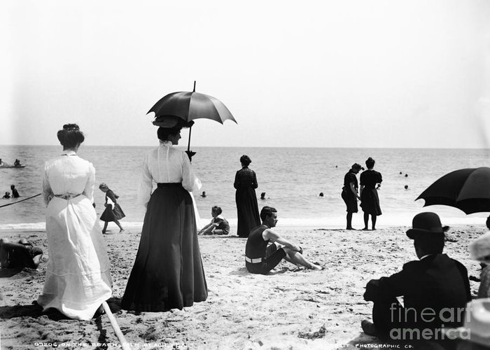 Black And White Greeting Card featuring the photograph Turn Of The Century Palm Beach by LOC Science Source