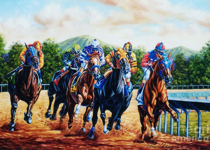 Horse Racing Greeting Card featuring the painting Turning For Home by Tom Chapman