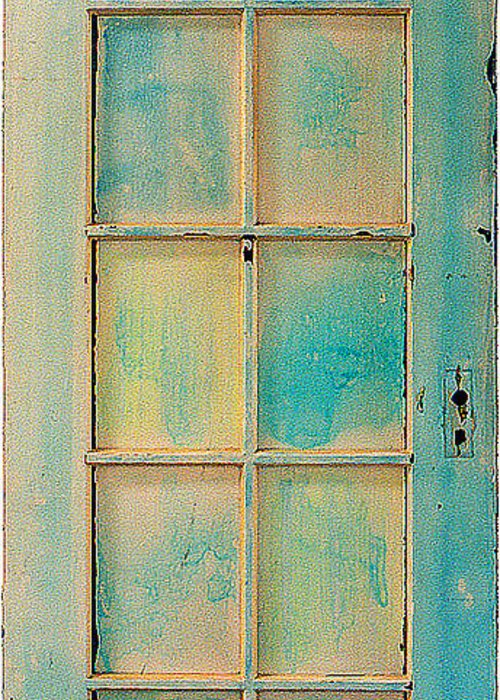 Painted Wooden Door Greeting Card featuring the sculpture Turquoise And Pale Yellow Panel Door by Asha Carolyn Young