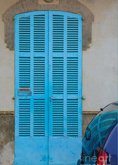 Architectural Greeting Card featuring the photograph Turquoise Door by Ingela Christina Rahm