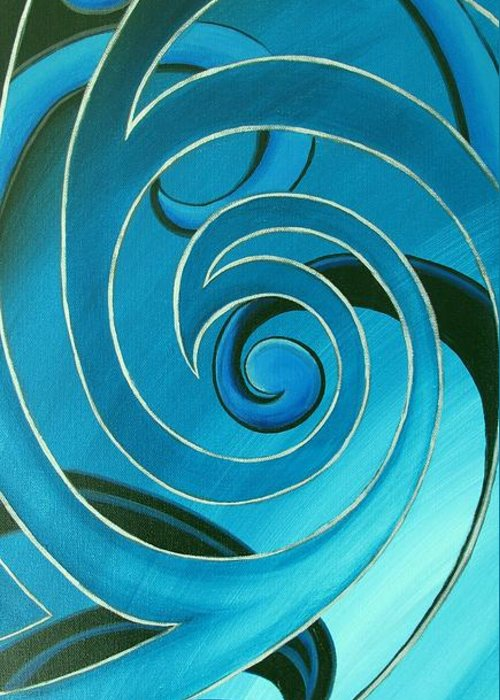Reina Cottier Greeting Card featuring the painting Turquoise Glass Koru by Reina Cottier