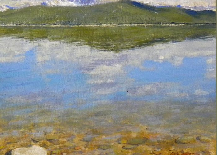 Rocky Mountains Greeting Card featuring the painting Turquoise Lake by Greg Clibon