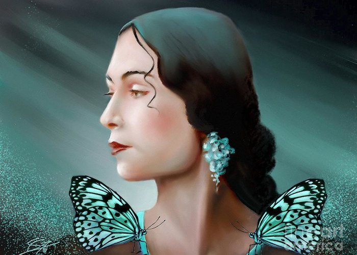 Beauty Greeting Card featuring the painting Turquoise Poetry by - Artificium -