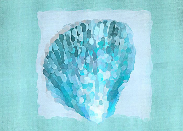 Seashell Greeting Card featuring the painting Turquoise Seashells Vii by Lourry Legarde