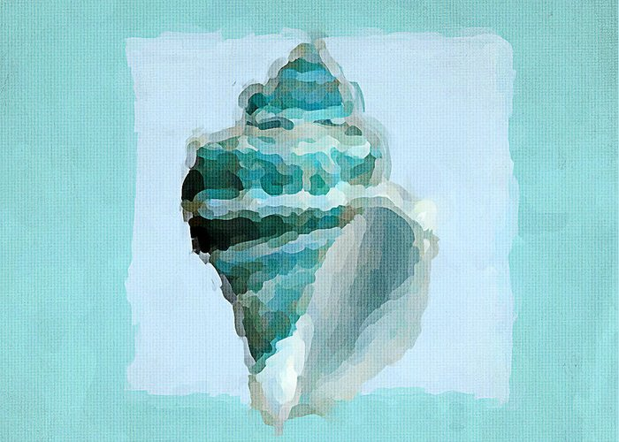 Seashell Greeting Card featuring the painting Turquoise Seashells Viii by Lourry Legarde