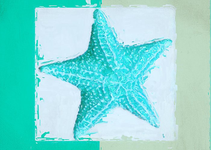 Seashell Greeting Card featuring the painting Turquoise Seashells Xi by Lourry Legarde