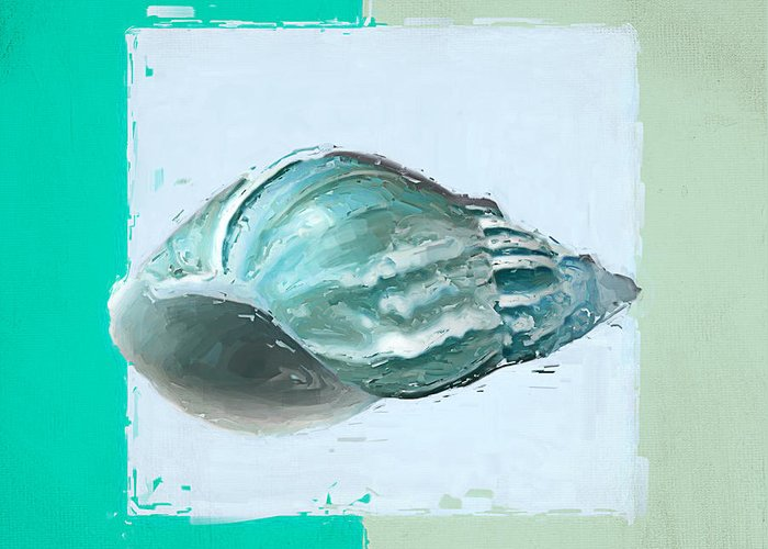 Seashell Greeting Card featuring the painting Turquoise Seashells Xiv by Lourry Legarde
