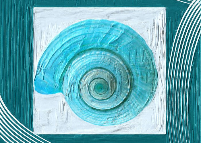 Seashell Greeting Card featuring the painting Turquoise Seashells Xvii by Lourry Legarde