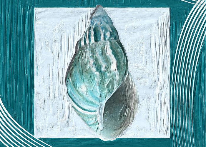 Seashell Greeting Card featuring the painting Turquoise Seashells Xx by Lourry Legarde