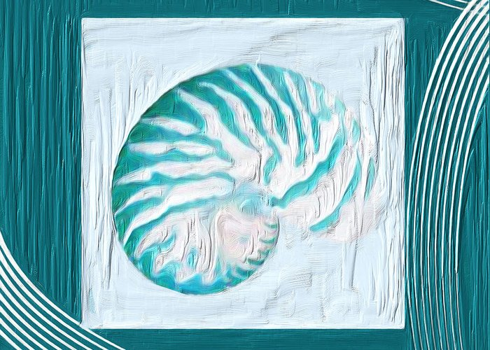 Seashell Greeting Card featuring the painting Turquoise Seashells Xxi by Lourry Legarde