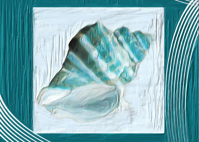 Seashell Greeting Card featuring the painting Turquoise Seashells Xxii by Lourry Legarde