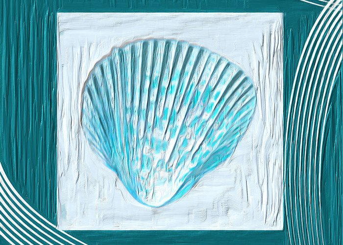 Seashell Greeting Card featuring the painting Turquoise Seashells Xxiii by Lourry Legarde
