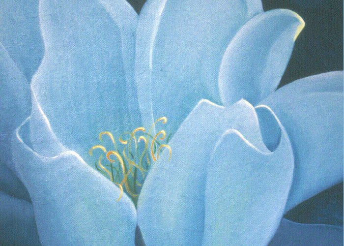 Turquoise Greeting Card featuring the painting Turquoise Waterlily by Christina Rahm Galanis