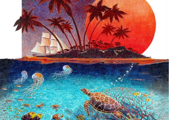 Animals Greeting Card featuring the painting Turtle And Jelly Soup by David Chapple