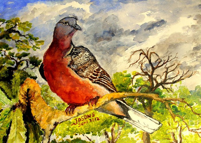 Bird Greeting Card featuring the painting Turtle - Dove by Jason Sentuf