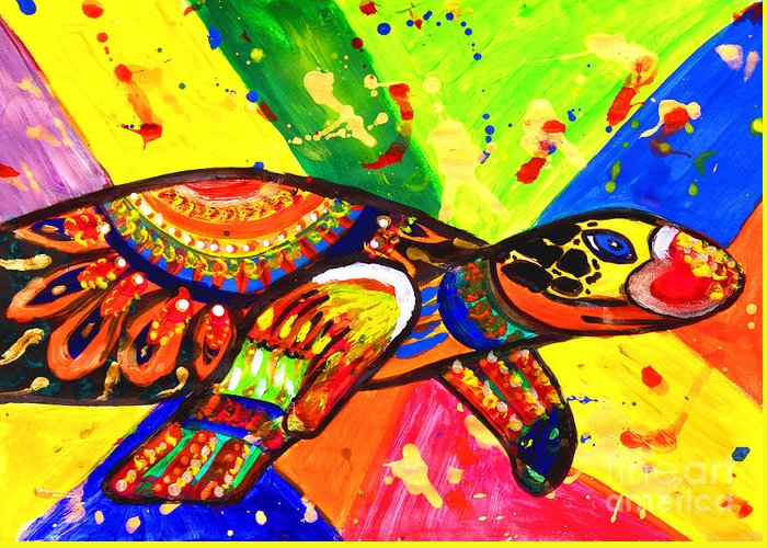 Turtle Pop Art Greeting Card featuring the painting Turtle Pop Art by Julia Fine Art And Photography