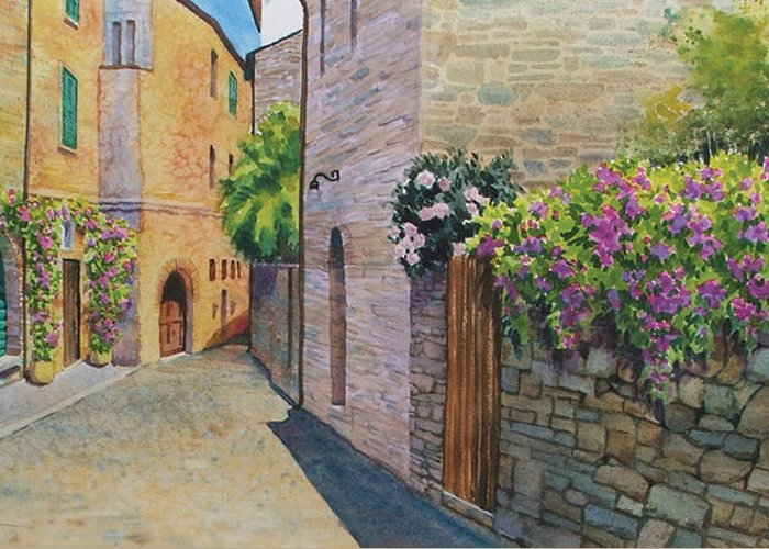 Tuscan Greeting Card featuring the painting Tuscan Alley by Marguerite Chadwick-Juner