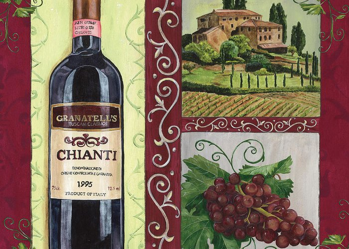 Wine Greeting Card featuring the painting Tuscan Collage 1 by Debbie DeWitt