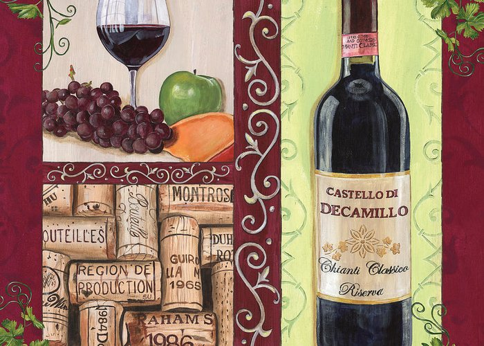 Wine Greeting Card featuring the painting Tuscan Collage 2 by Debbie DeWitt