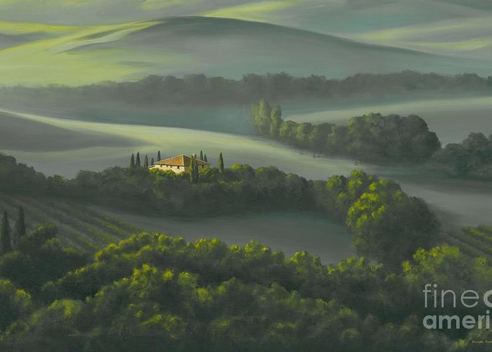 Tuscany Landscape Greeting Card featuring the painting Tuscan Daybreak by Michael Swanson