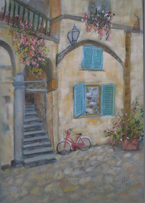 Architecture Greeting Card featuring the painting Tuscan Delight by Mohamed Hirji