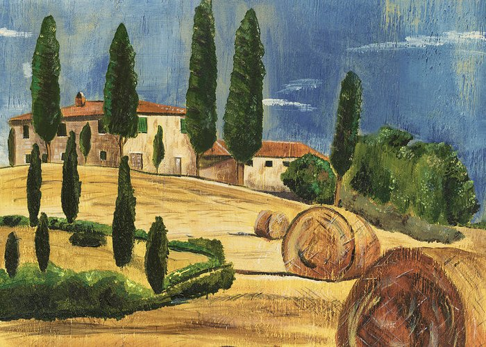 Tuscan Hills Paintings Greeting Cards