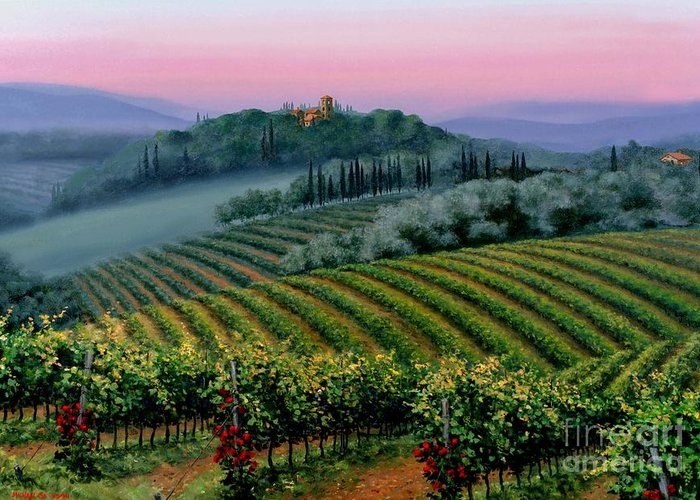 Tuscan Sunset Greeting Card featuring the painting Tuscan Dusk by Michael Swanson