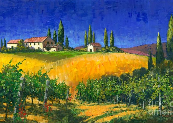 Grape Vines Greeting Card featuring the painting Tuscan Evening by Michael Swanson