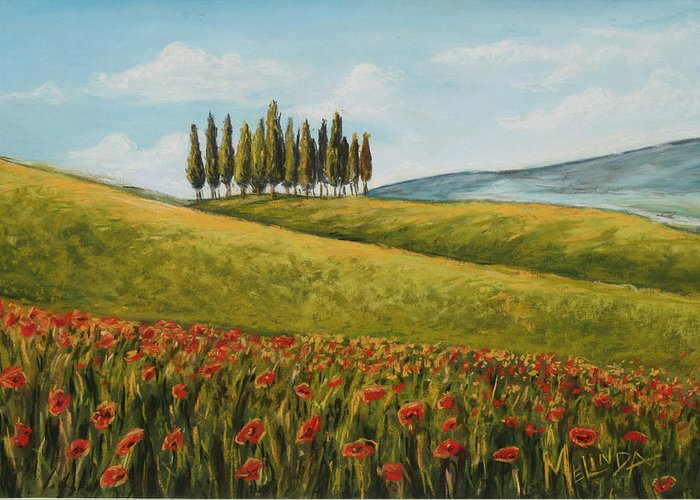 Tuscan Art Greeting Card featuring the painting Tuscan Field With Poppies by Melinda Saminski