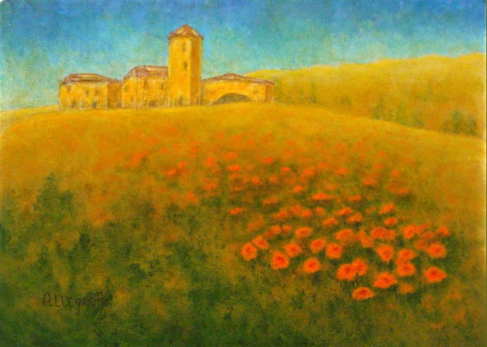 Allegretto Art Greeting Card featuring the painting Tuscan Gold 1 by Pamela Allegretto