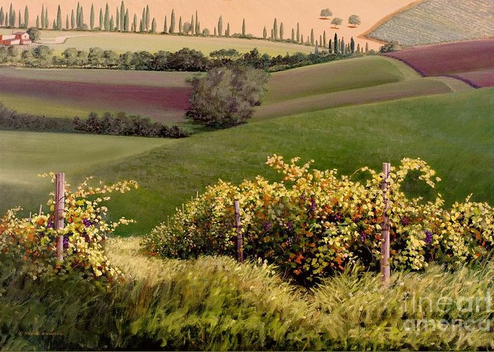 Grapevine Greeting Card featuring the painting Tuscan Hills by Michael Swanson