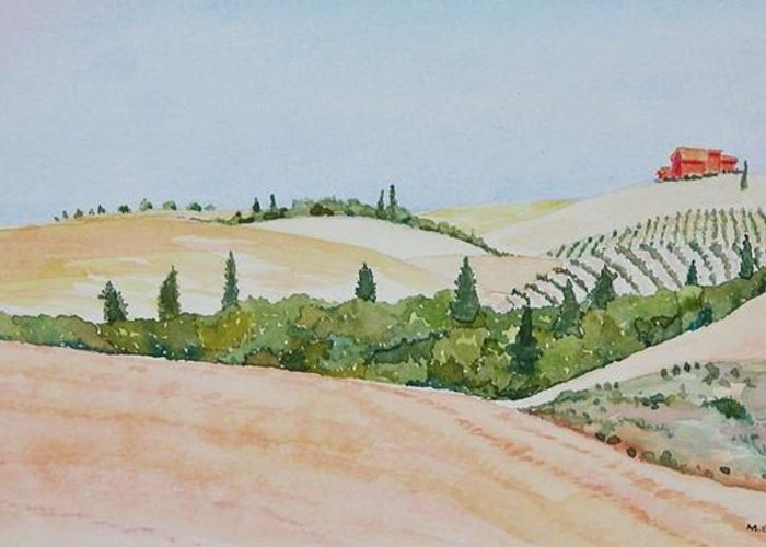 Landscape Greeting Card featuring the painting Tuscan Hillside One by Mary Ellen Mueller Legault