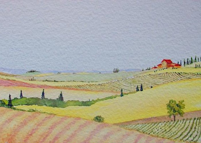 Watercolor Greeting Card featuring the painting Tuscan Hillside Three by Mary Ellen Mueller Legault